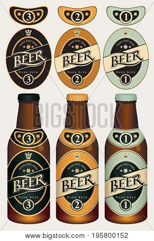 Three vector beer labels in retro style on various color backgrounds in oval frame with crown. Templates labels for dark beer on glass bottles.
