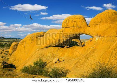 Stone arch Spitzkoppe, Namibia. Mountain Nature Reserve in the desert Namib