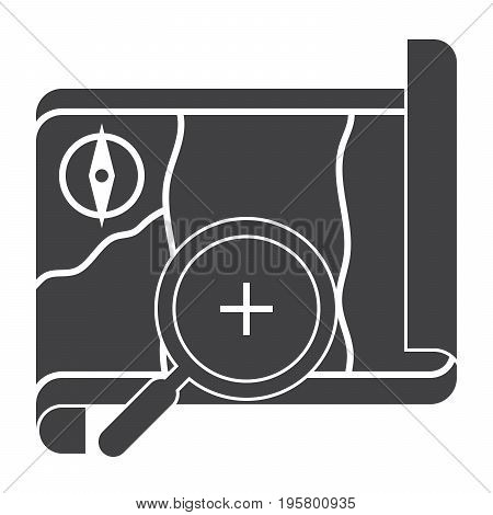 Local history concept with map and magnifying glass, vector silhouette