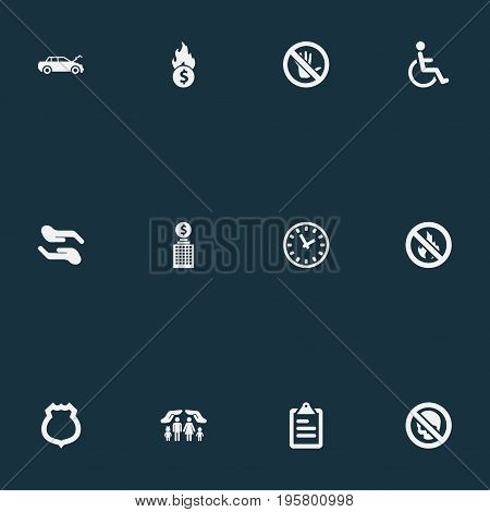 Vector Illustration Set Of Simple Insurance Icons