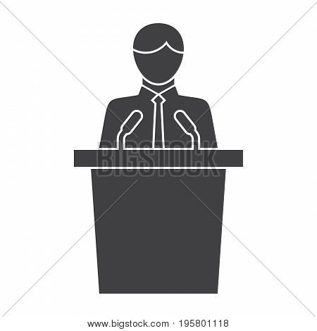 Political science concept with politician standing behind rostrum and giving speech, vector silhouette