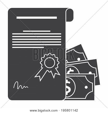 Scientific prize concept with certificate and money, grant icon, vector silhouette