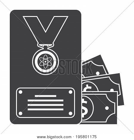 Scientific prize concept with gold medal and money, grant icon, vector silhouette