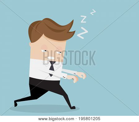 businessman sleepwalking in cartoon design vector illustration