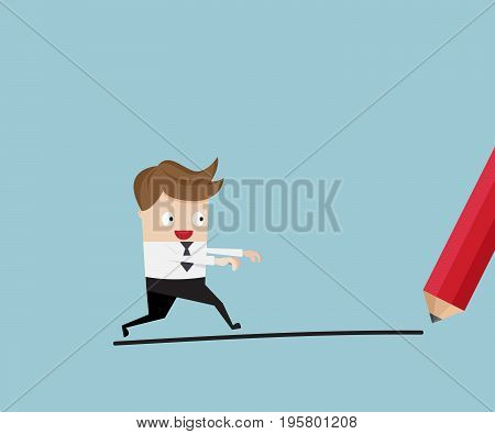 businessman walking with pencil drawing line cartoon vector illustration