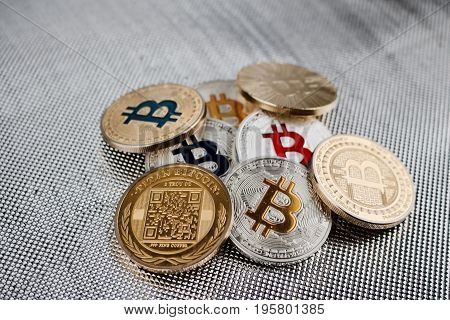 Bitcoins On Silver Background