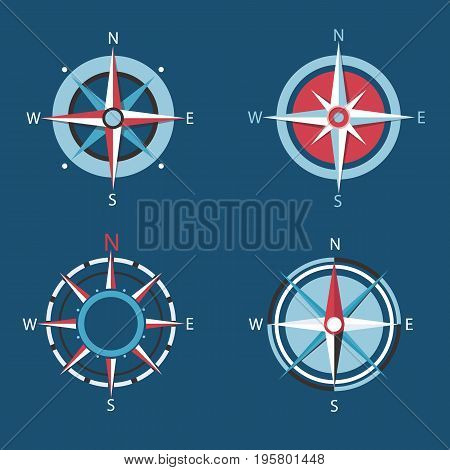 Wind rose, Vector compass flat icon set.