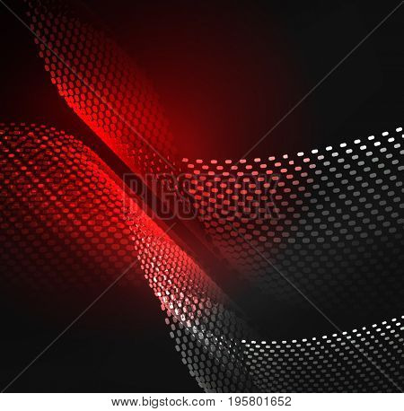 Glowing particles wave design template, technology light concept