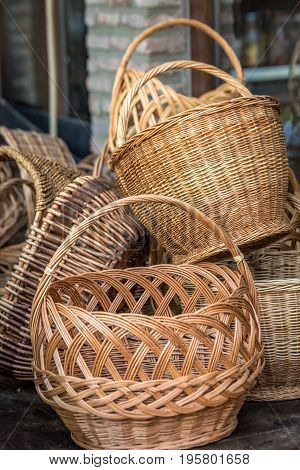 Vintage weave wicker basket at kaheti wine region, Georgia.
