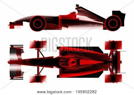 race car formula x-ray isolated on white. 3d rendering