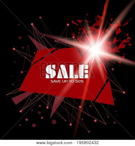 Sale inscription vector template. Red rectangular banner with explosion. Advertising design