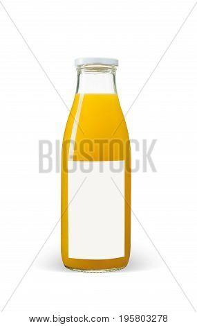 Orange juices bottle with blank label isolated on white background