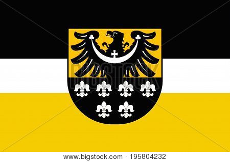 Flag of Trzebnica County is a unit of territorial administration and local government in Lower Silesian Voivodeship south-western Poland. Vector illustration