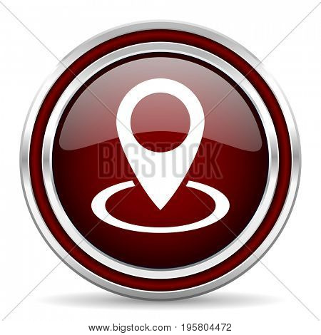 Pointer red glossy icon. Chrome border round web button. Silver metallic pushbutton.