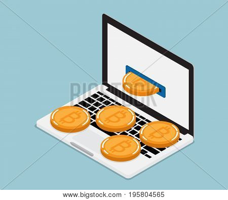 mining bitcoin from laptop Cryptocurrency concept vector illustration