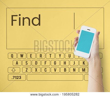 Hand holding smart phone with keyboard and word