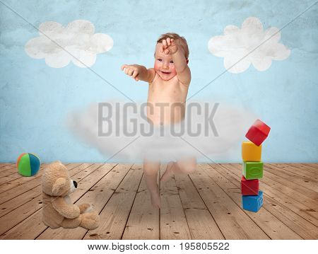 A young child in a cloudy dance in a child's room