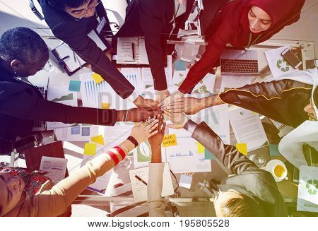 Corporate business people hands stack power for team support