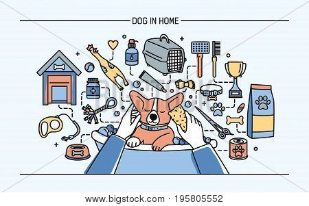 Dog in home horizontal banner with pet toys, meds and puppy meals. Horizontal colorful line art vector illustration