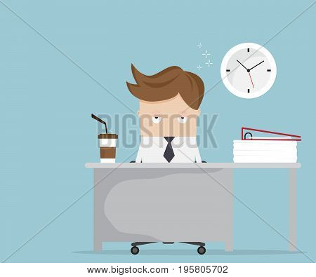 businessman falling asleep at desk in office vector illustration