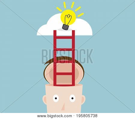 ladder from human head to bulb idea on cloud vector illustration