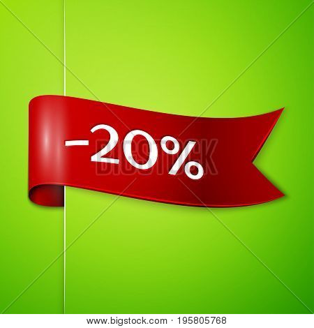 Realistic Red ribbon with text twenty percent for discount on green background. Colorful realistic sticker, banner for sale, shopping, market, business theme. Vector template for your design