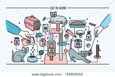 Cat in home horizontal banner with pet toys, meds and kitty meals. Horizontal colorful line art vector illustration