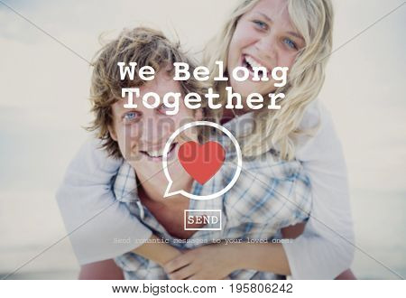 We Belong Together heart symbol on lovers background