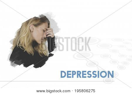 Woman with Depression Feeling Expression Emotion Word Graphic