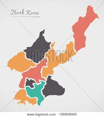 North Korea Map With States And Modern Round Shapes
