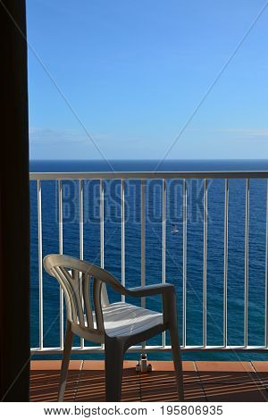 Sea view from balcony of hotel room, Gran Canaria, Spain