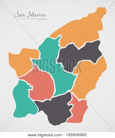 San Marino Map With States And Modern Round Shapes