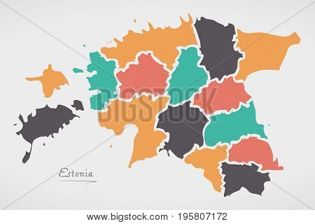 Estonia Map With States And Modern Round Shapes