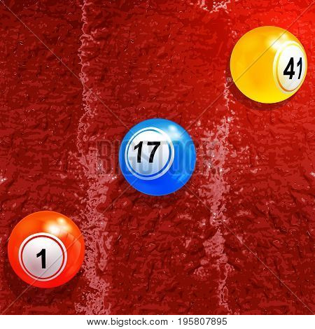 3D Illustration of Bingo Lottery Balls and Shadow Over Textured Red Paint Background