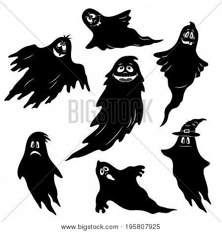 Set for Holiday Halloween Design, Flying Ghosts, Cartoon Character with Different Emotions, Black Silhouettes Isolated on White Background. Vector