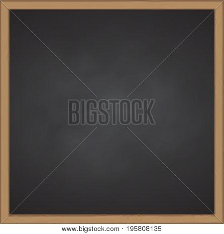 Black chalk board with wood frame Vector illustration
