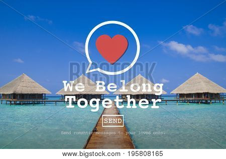 We Belong Together heart symbol on beach background
