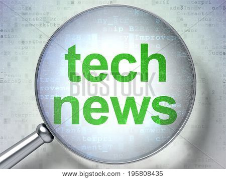 News concept: magnifying optical glass with words Tech News on digital background, 3D rendering