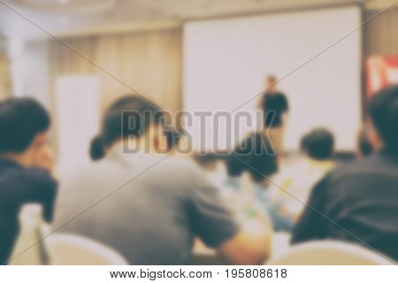 People Listening To Conference. Seminar Meeting Room With Attendee. Audience In Lecture Hall. Blur I
