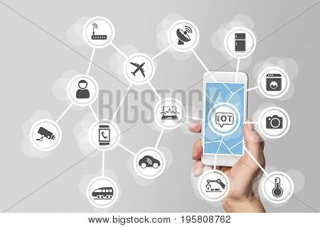 Internet of things (IOT) concept illustrated by modern smartphone managing connected objects