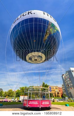 BERLIN, GERMANY - JUNE 15, 2017: Baloon trip in the city center of Berlin, Germany. Berlin is the capital and the largest city of Germany with a population of approximately 3.7 million people.