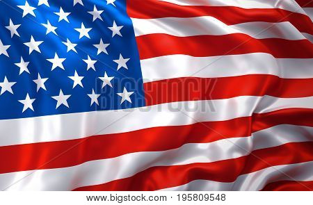 Flag of the United States of America blowing in the wind