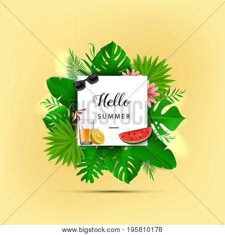 Hello Summer. Vector Illustration. Summer Banner With 3D Hawaiian Leaf On Pastel Yellow Background W