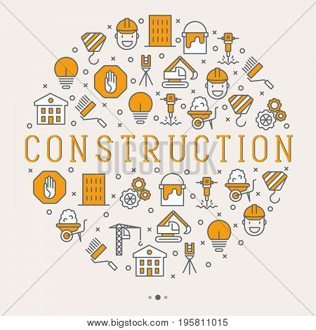 Building construction concept in circle with thin line icons. Vector illustration for banner, web page.