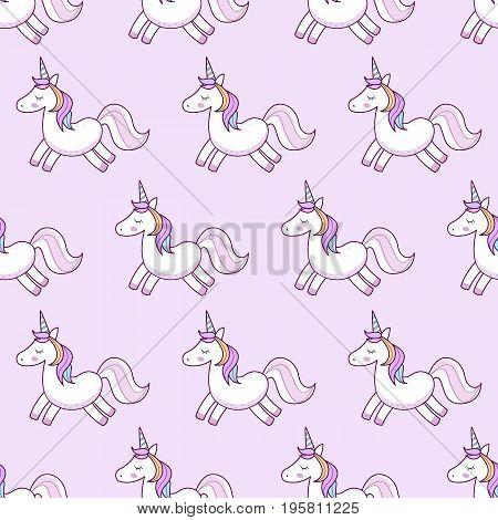 Unicorns . Vector Illustration. Seamless Pattern. Rainbow Unicorns On Colorful Background. Cute Wall