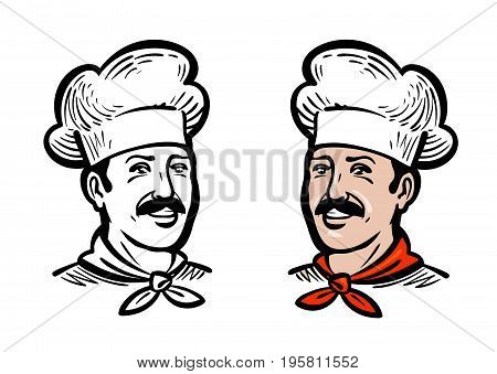 Portrait of joyful chef, logo. Label or icon for design menu restaurant or cafe. Vector illustration isolated on white background