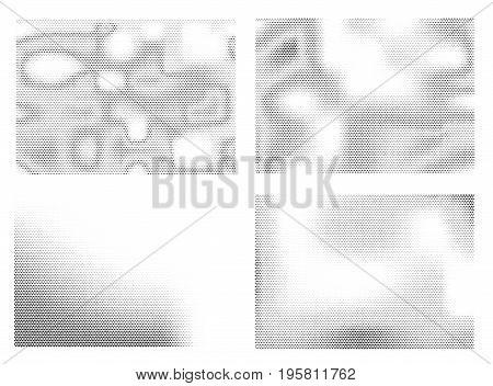 Dotted background set. Halftone abstract backdrop collection. Monochrome vector illustrations
