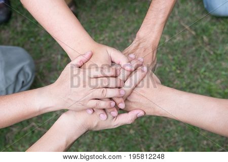 Young College Student Joining Hand, Start Up Business Team Touching Hands Together - Unity, Harmony,