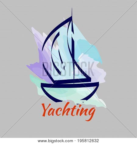 Watercolor sketch of yacht on  background of sky. Logo yacht club. Vector illustration