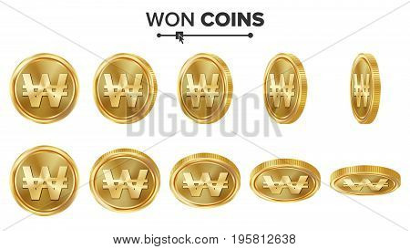 Won 3D Gold Coins Vector Set. Realistic Illustration. Flip Different Angles. Money Front Side. Investment Concept. Finance Coin Icons, Sign, Success Banking Cash Symbol. Currency Isolated